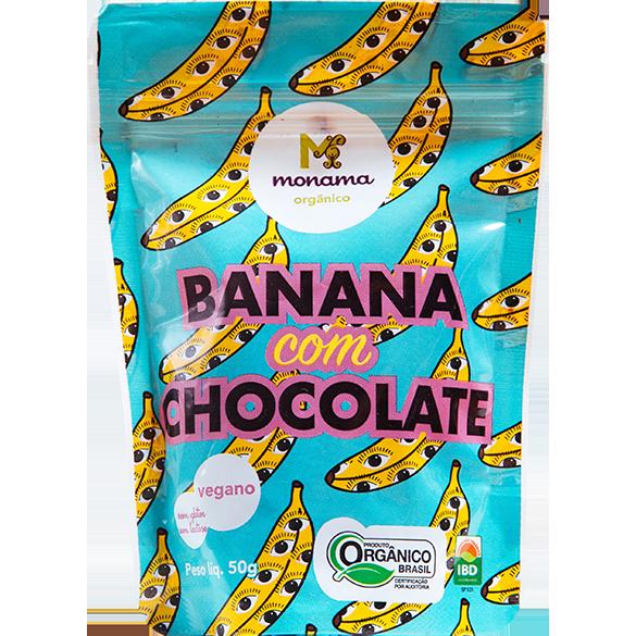 Snack de Banana com Chocolate 77% Cacau Vegano Orgânico 50g - Monama
