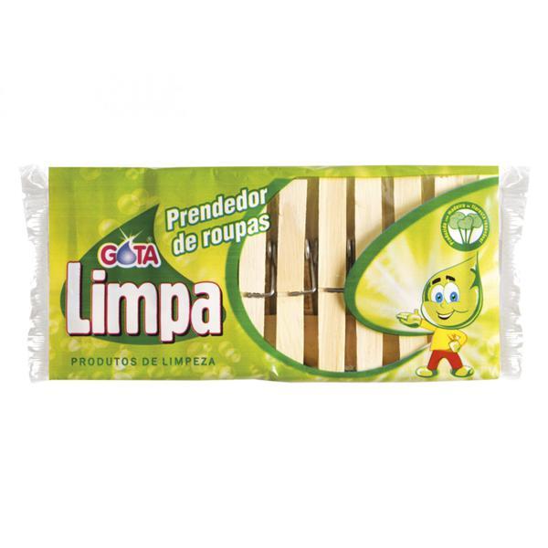 Prendedor Roupa Gota Limpa Madeira C/12