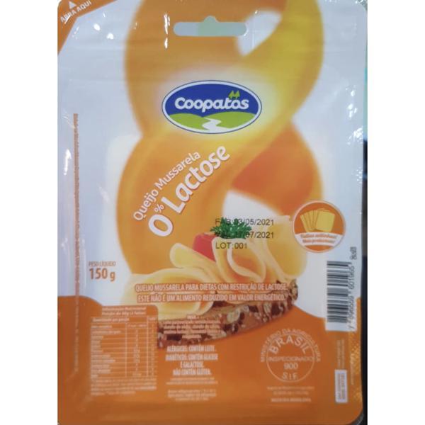 Queijo Coopatos 150G Mussarela 0% Lactose