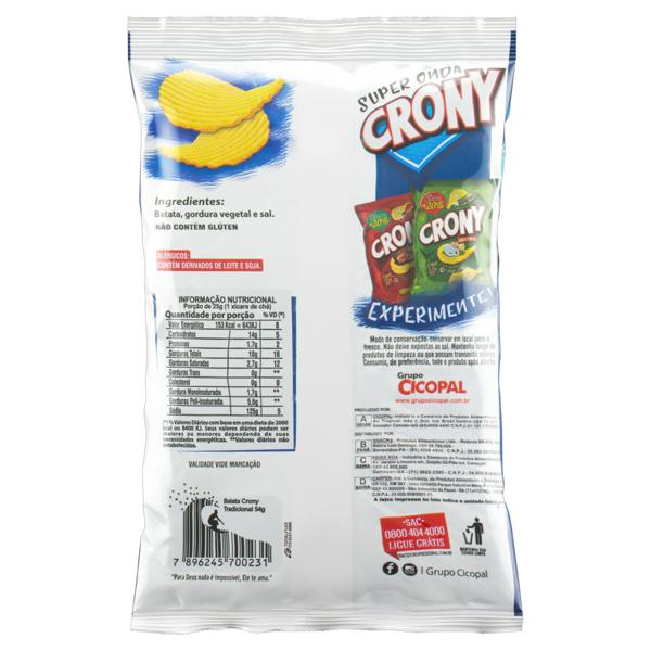 Batata Frita Ondulada Super Onda Tradicional Crony 54g Grátis + 20%