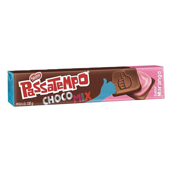 Biscoito Chocolate Recheio Morango Nestlé Passatempo Choco Mix Pacote 130g