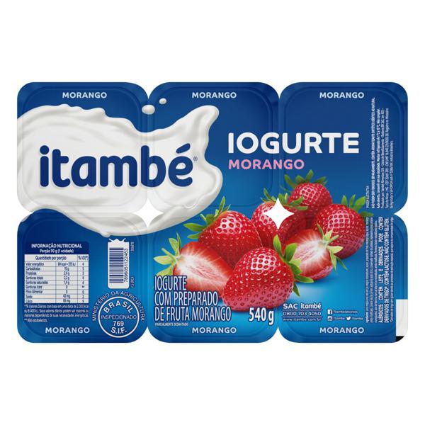 Iogurte Parcialmente Desnatado Morango Itambé Bandeja 540g 6 Unidades
