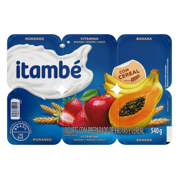 Iogurte Parcialmente Desnatado Morango + Vitamina + Banana Itambé Bandeja 540g 6 Unidades