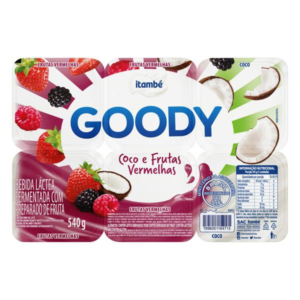 Bebida Láctea Fermentada Coco e Frutas Vermelhas Itambé Goody Bandeja 540g 6 Unidades