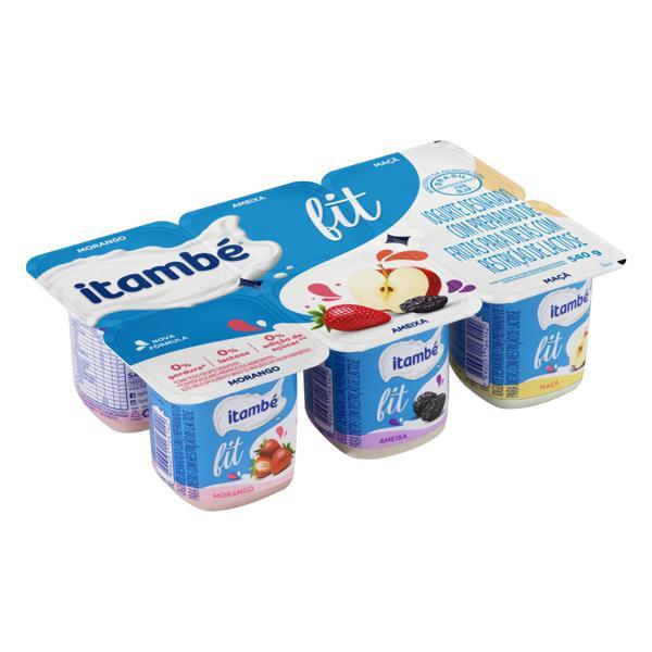 Iogurte Desnatado Morango + Ameixa + Maçã Zero Lactose Itambé Fit Bandeja 540g 6 Unidades