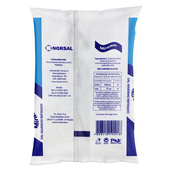 Sal Marinho Refinado Miramar Pacote 1kg