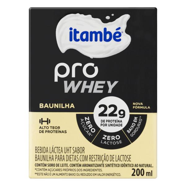 Bebida Láctea Itambé Pro Whey Caixa 200ml UHT Baunilha Zero Lactose