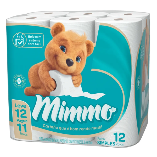 Papel Higienico Mimmo Folha Simples 30Mx10Cm 12X1