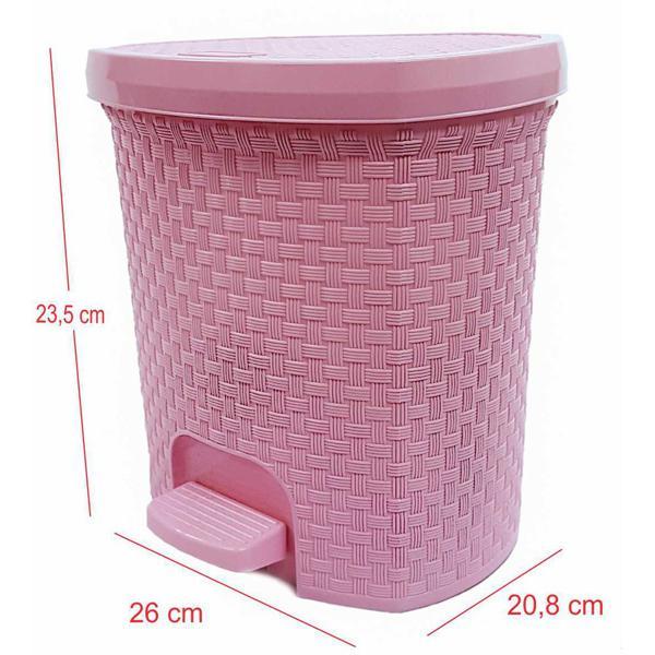 Lixeira RATTAN 6L rosa baby