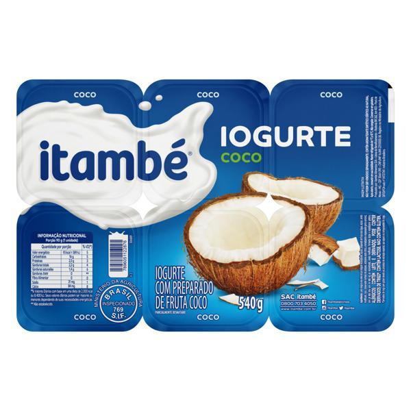 Iogurte Parcialmente Desnatado Coco Itambé Bandeja 540g 6 Unidades