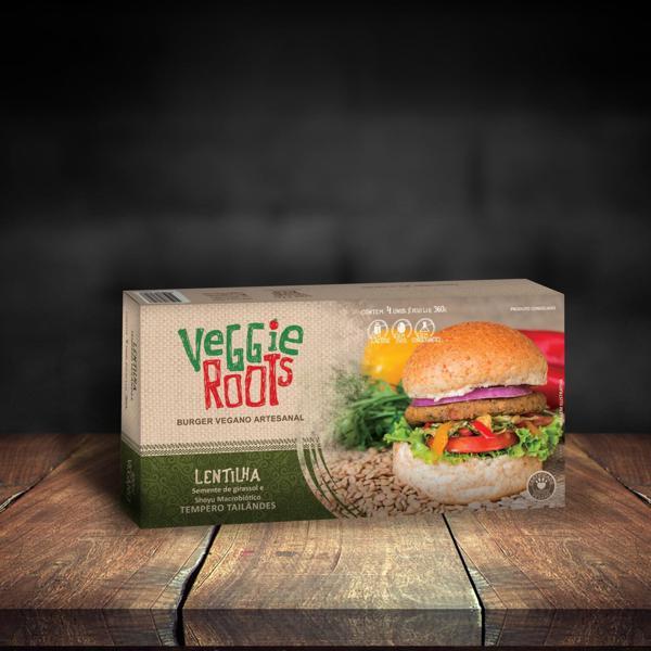 Hambúrguer Vegano Lentilha 360g - Veggie Roots