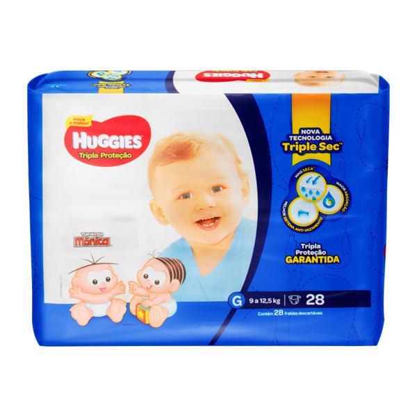 Fralda Descartável Infantil Huggies Tripla Proteção G Pacote 28 Unidades