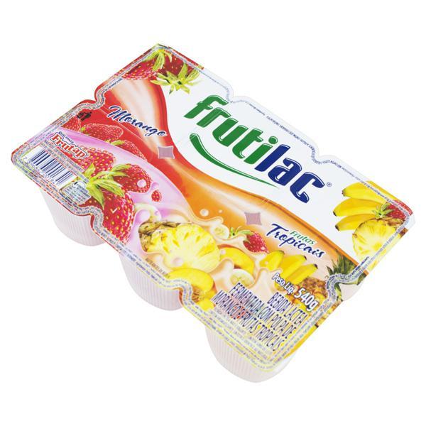 Bebida Láctea Fermentada Morango e Frutas Tropicais Frutilac Bandeja 540g 6 Unidades