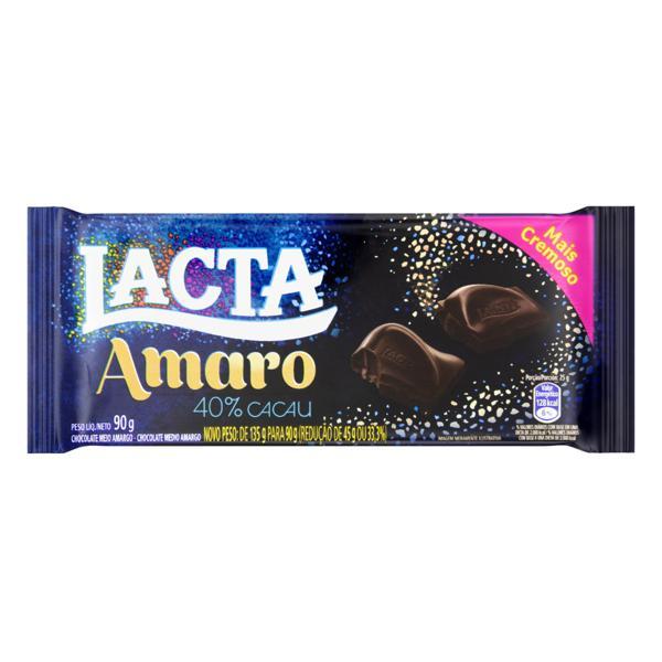 Chocolate Meio Amargo 40% Cacau Lacta Amaro Pacote 90g