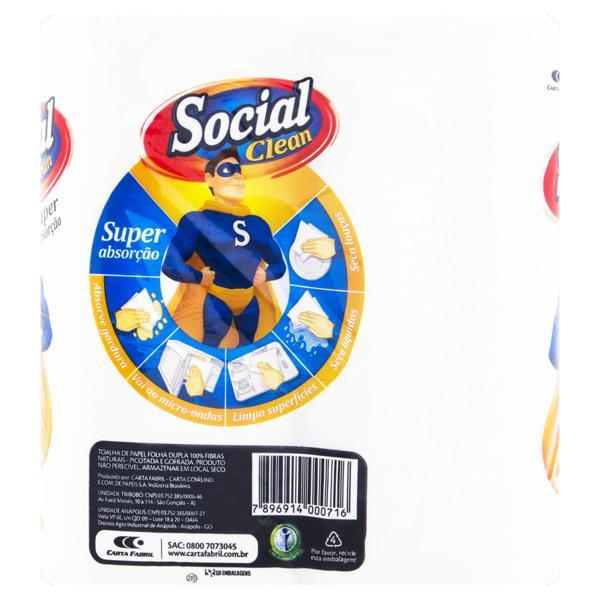 Toalha de Papel Folha Dupla Multiuso Social Clean Super Absorção 19cm x 21,5cm Pacote 2 Unidades
