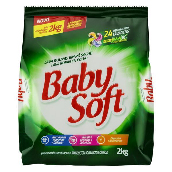 Lava-Roupas em Pó Baby Soft Pacote 2kg Embalagem Econômica