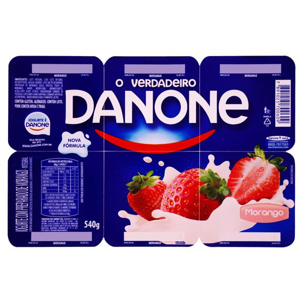 Iogurte Integral Morango Danone Bandeja 540g 6 Unidades