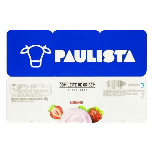 Bebida Láctea Fermentada Morango Paulista Bandeja 540g 6 Unidades