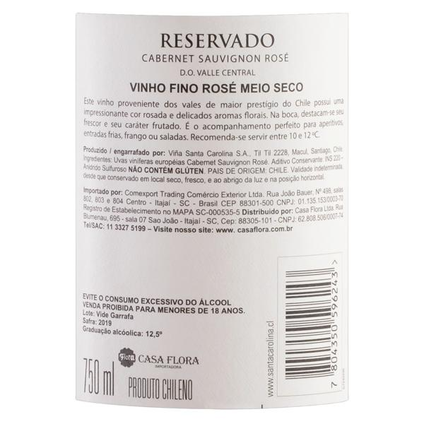 Vinho Chileno Rosé Meio Seco Reservado Santa Carolina Cabernet Sauvignon Valle Central Garrafa 750ml