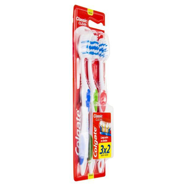 Escova Dental Média Colgate Classic Clean Leve 3 Unidades Pague 2 Unidades