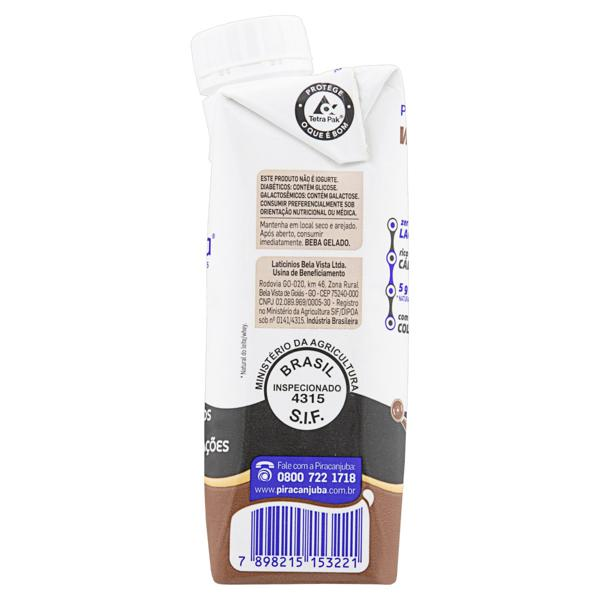 Bebida Láctea UHT Cacau Zero Lactose Piracanjuba Whey Caixa 250ml