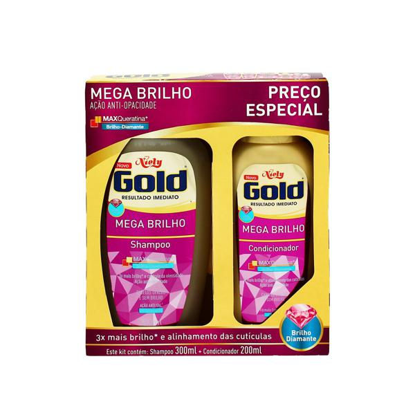 Shampoo + Condicionador NIELY GOLD Mega Brilho 300ml+200ml