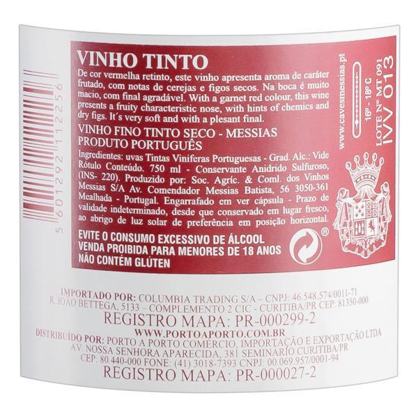 Vinho Português Tinto Seco Messias Beiras Garrafa 750ml
