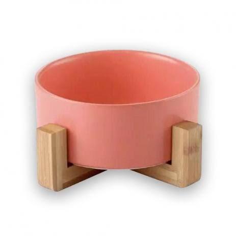 Comedouro Em Cerâmica Wood E Base Em Bambu Rosa
