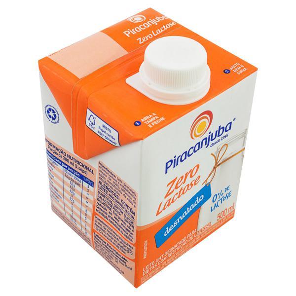 Leite UHT Desnatado Zero Lactose Piracanjuba Caixa com Tampa 500ml