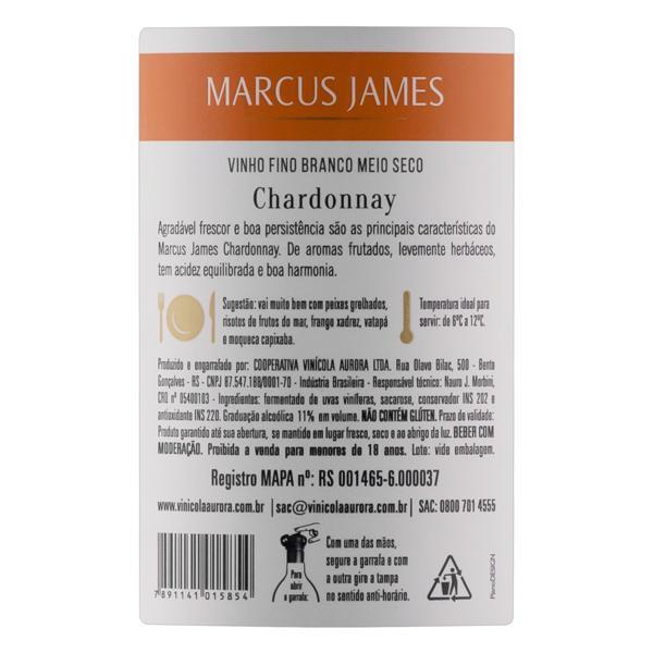Vinho Brasileiro Branco Meio Seco Marcus James Chardonnay Serra Gaúcha Garrafa 750ml