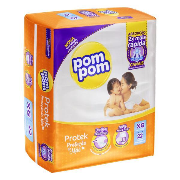 Fralda Descartável Infantil Pom Pom Protek Proteção de Mãe XG Pacote 22 Unidades