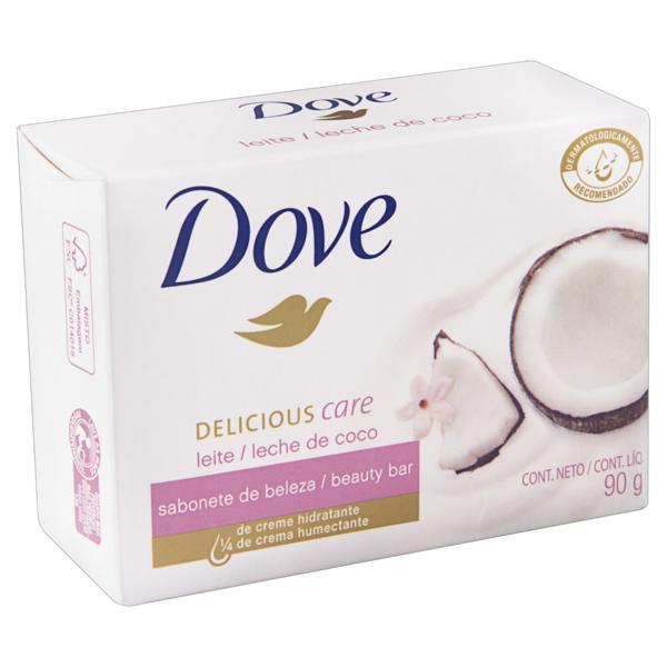 Sabonete em Barra Leite de Coco e Pétalas de Jasmin Dove Delicious Care Caixa 90g