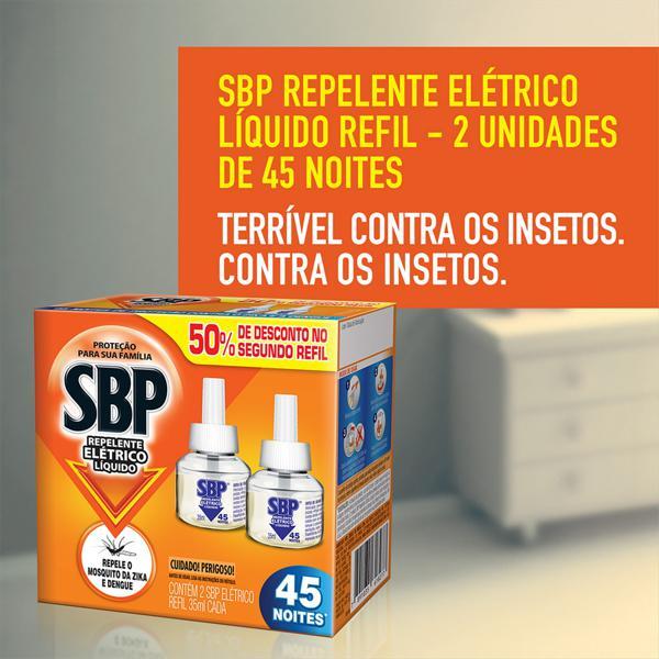 Repelente Elétrico Líquido SBP Caixa 2 Unidades 35ml Cada Grátis 50% de Desconto no 2° Refil