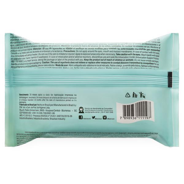 Lenço Umedecido Repelente de Insetos Aloe Vera Feelclean 19cm x 16cm Pacote 16 Unidades