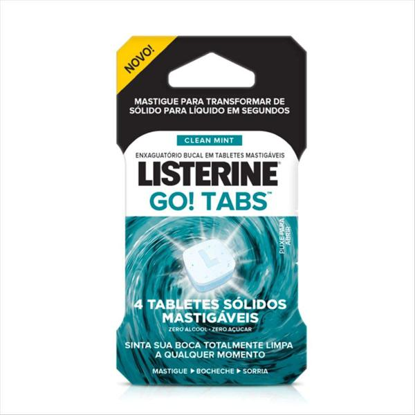 Enxag. Bucal Listerine Mastigável Clean Mint Go Tabs C/4 Unidades