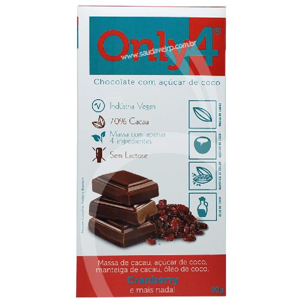 Chocolate 70% Cacau C/ Açúcar de Coco e Cranberry - ONLY4