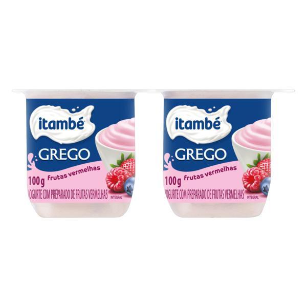 Iogurte Integral Grego Frutas Vermelhas Itambé Bandeja 400g 4 Unidades