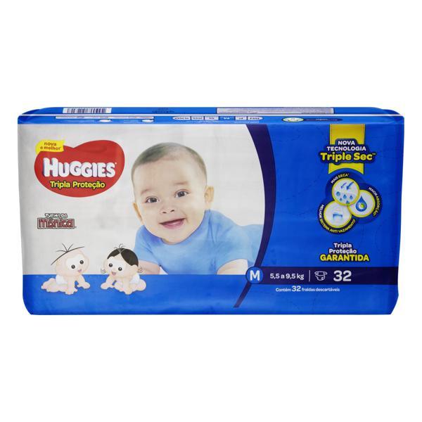 Fralda Descartável Infantil Huggies Tripla Proteção M Pacote 32 Unidades