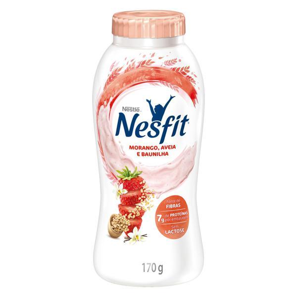 Iogurte Desnatado Morango, Aveia e Baunilha Zero Lactose Nestlé Nesfit Frasco 170g