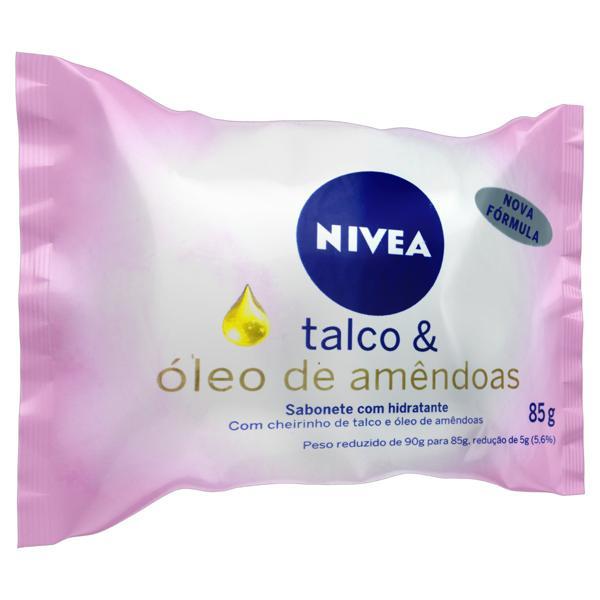 Sabonete em Barra Hidratante Talco & Óleo de Amêndoas Nivea Pacote 85g