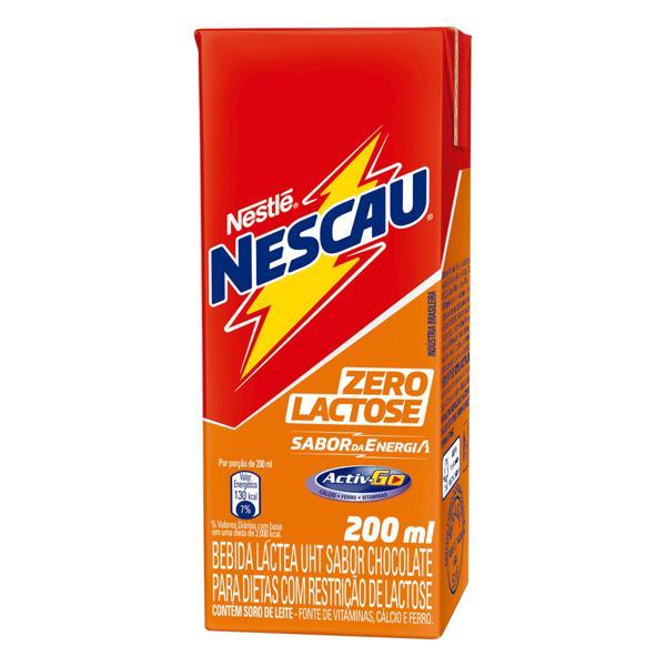 Bebida Láctea UHT Chocolate Zero Lactose Nestlé Nescau Caixa 200ml