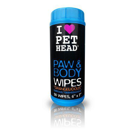 Lenços Umedecidos PET HEAD Paw and Body Wipes com 50 unidades
