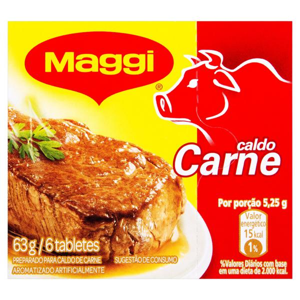 Tempero em Tablete de Caldo de Carne Maggi Caixa 63g 6 Unidades