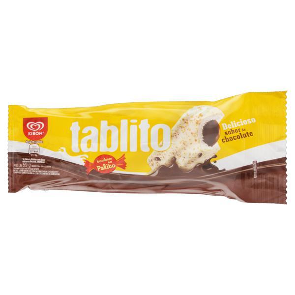 Picolé Baunilha Recheio de Chocolate Cobertura Baunilha com Crocantes de Amendoim Kibon Tablito Pacote 59g