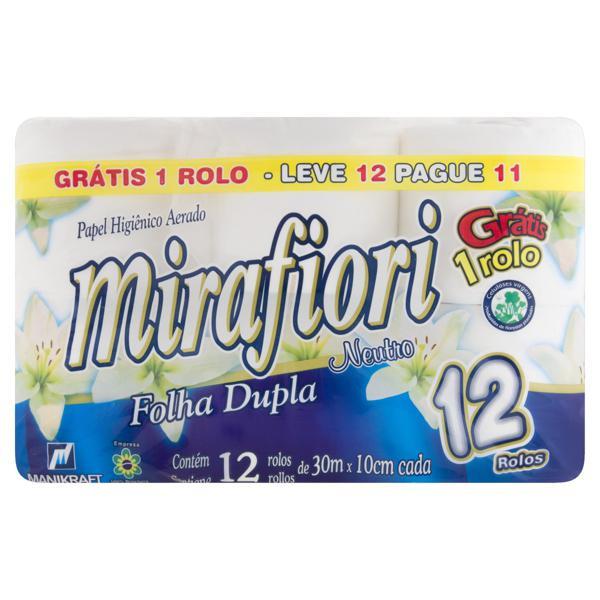 Papel Higiênico Folha Dupla Neutro Mirafiori 30m Pacote Leve 12 Pague 11 Unidades