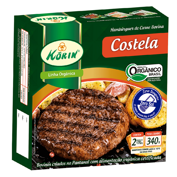 Hambúrguer de Carne Bovina Costela Orgânico Korin Caixa 340g 2 Unidades