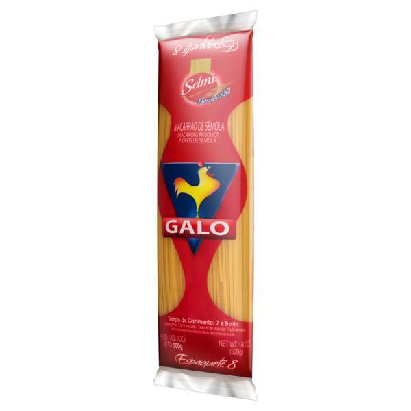 Macarrão de Sêmola Espaguete 8 Galo Pacote 500g