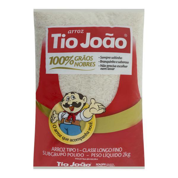 Arroz Polido Tipo 1 Tio João 100% Grãos Nobres Pacote 2kg