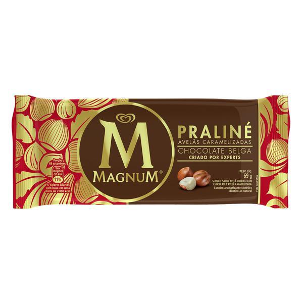 Sorvete Avelã Cobertura Praliné e Chocolate Belga Magnum Pacote 69g