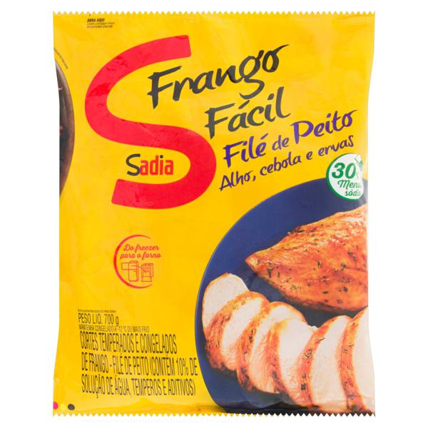 Filé de Peito Congelado Temperado Sadia Frango Fácil Pacote 700g